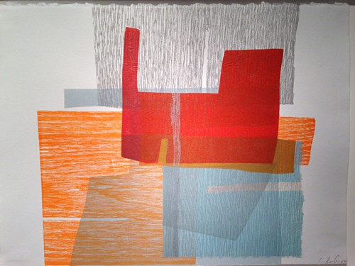 Carolyn Graczs really lovely prints, this one a monoprint with collage, are at Shift Gallery.