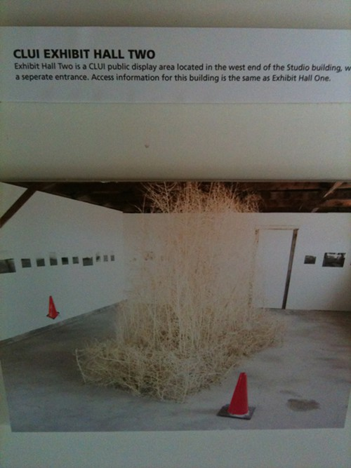 This is a photograph of another of the CLUI exhibits in a former barracks, and the photo happens to feature a sculpture the Seattle artists Lead Pencil Studio made and installed at CLUI several years ago.