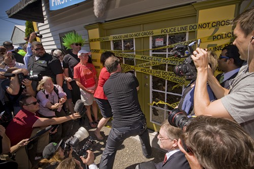 THE GRAND OPENING of Cannabis City was marked by a ceremonial cutting of police tape.