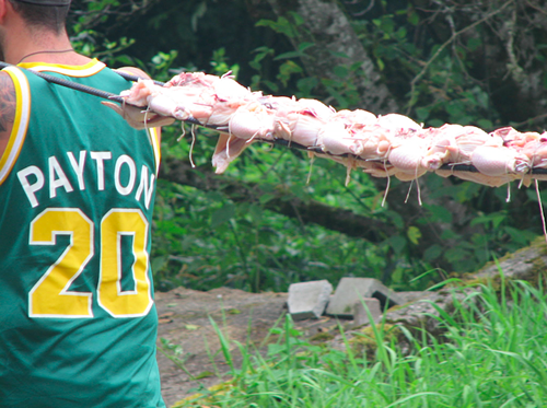 CHICKEN Destined to be Korean-gochujang-barbecue-style, being carried by Gary Payton.