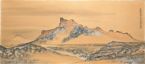 JIMMY MIRIKITANI Painting of Tule Lake, 1940s, at Bellevue Arts Museum.