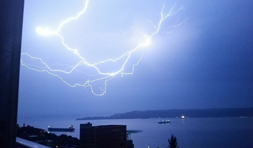 Lightning last night in Tacoma. Expect more like this today.