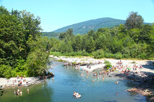 Down by the river was the place to be to beat the heat.