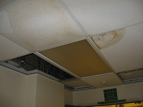 A water-damaged ceiling at the juvenile detention center.
