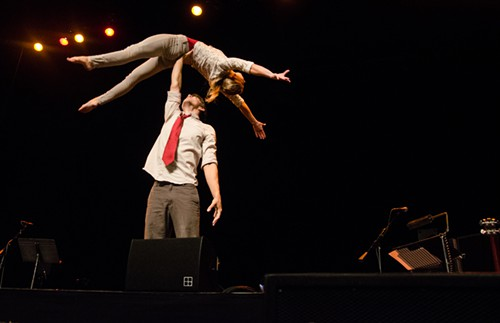 Arne Bystrom and Marta Browns acrobatics warmed up things as attendees filed into the Moore Theatre.