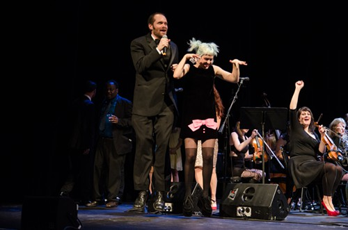 Stranger editor-in-chief Christopher Frizzelle and music editor Emily Nokes jump-start the torrid dance party that followed the awards ceremony, as the SRO jammed out old and new hits with panache.