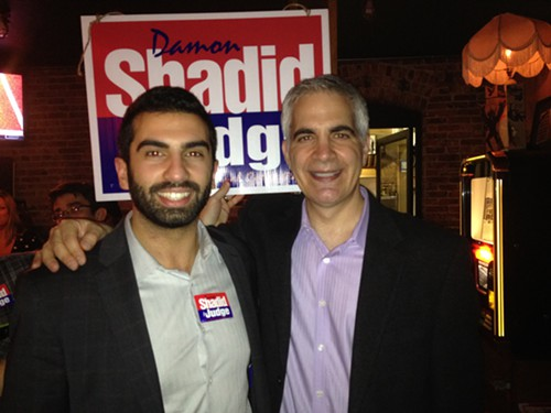 Newly elected Seattle municipal court judge Damon Shadid, on the right. Thats his friend and colleague Omar Nur on the left.
