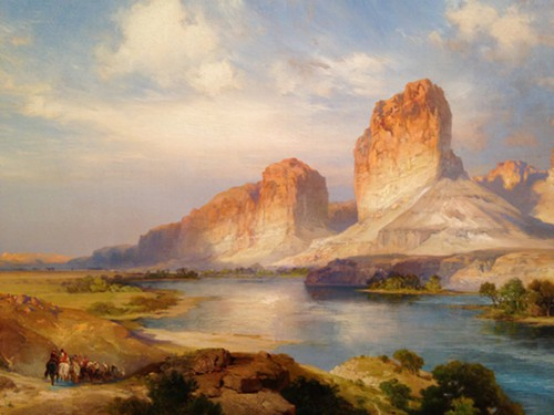 Thomas Moran produced his own fantasy of the American West, as the label next to this 1907 oil points out: In this painting, he chose not to include the town and rail lines running through the river valley, creating instead a pristine, idealized image of the Western landscape.