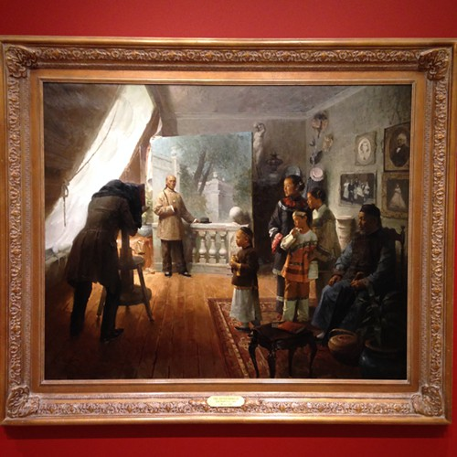 This is one of the most surprising paintings in the Haub wing. Its Mian Situs 2006 oil on canvas of a probably early 20th-century Chinese entrepreneur in San Francisco, having his portrait made in a studio marked by Caucasian culture, art, and furnishings.