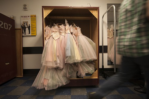 """Some of the dressers said they do an average of seven loads of laundry per show (in rotation—not every costume gets washed every time) and hand-wash between eight and twelve individual costumes. Costumes that are too delicate for the dryer are put in a """"dry room"""" that sucks away the moisture. """"You can get old really fast standing in there,"""" someone said as they passed by. Some costumes are just spritzed with Everclear or high-proof vodka to kill any potentially odiferous bacteria."""