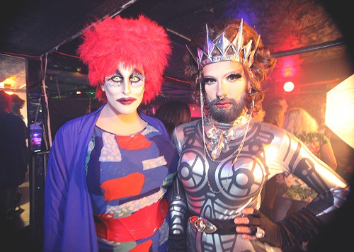 All the Queens Come Out To Play: There were plenty of fierce looks to ogle off-stage as well. Here queens Cucci Binaca and Oil Money are a prime example of the spectrum and creativity within our local drag scene.