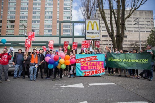 The last stop on the march was the McDonald's on Madison Street, where workers went on strike last year.