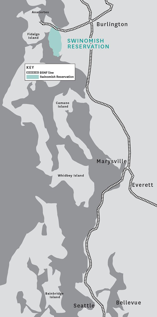 The Burlington Northern Santa Fe route through Washington. (click to enlarge)