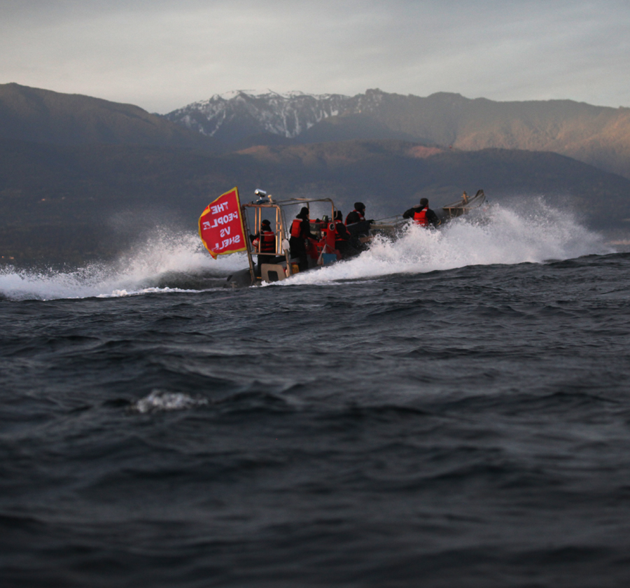 At one point, a wave went over the boat, over my two pairs of pants, and under my parka and life jacket. I exclaim, That wave went right into my buttcrack! The Greenpeace people dont laugh.