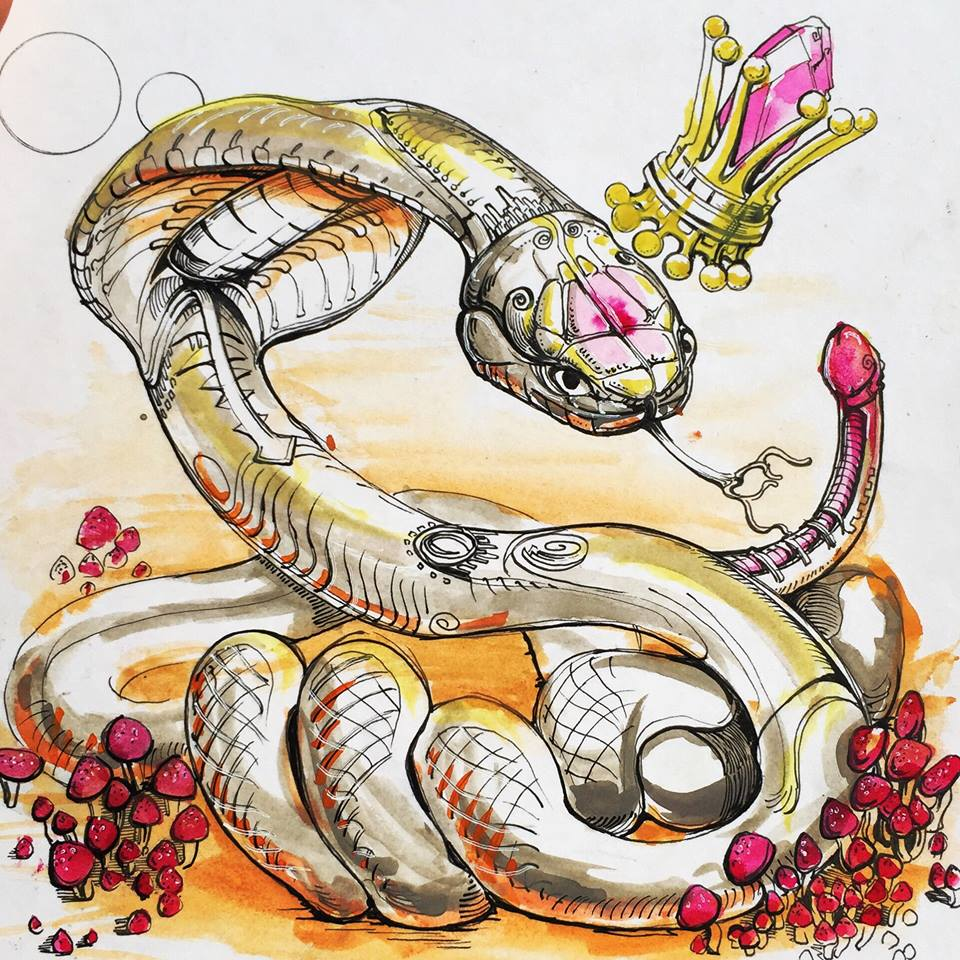 """""""King Cobra"""" by Adam One. Gouache and Ink on Paper"""
