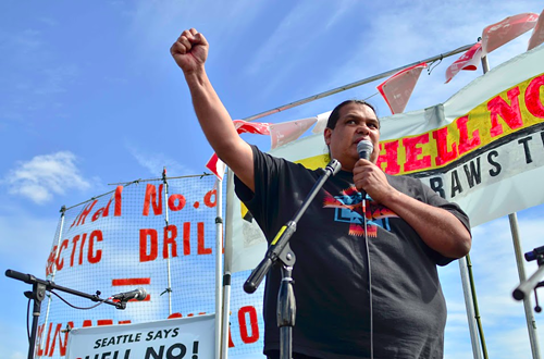 Sundance Chief Rueben George spoke about his peoples opposition to the Kinder Morgan pipeline project in British Columbia.