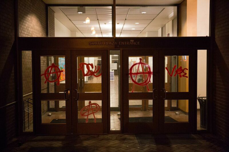 An entrance to Seattle Central Community College on Friday evening.