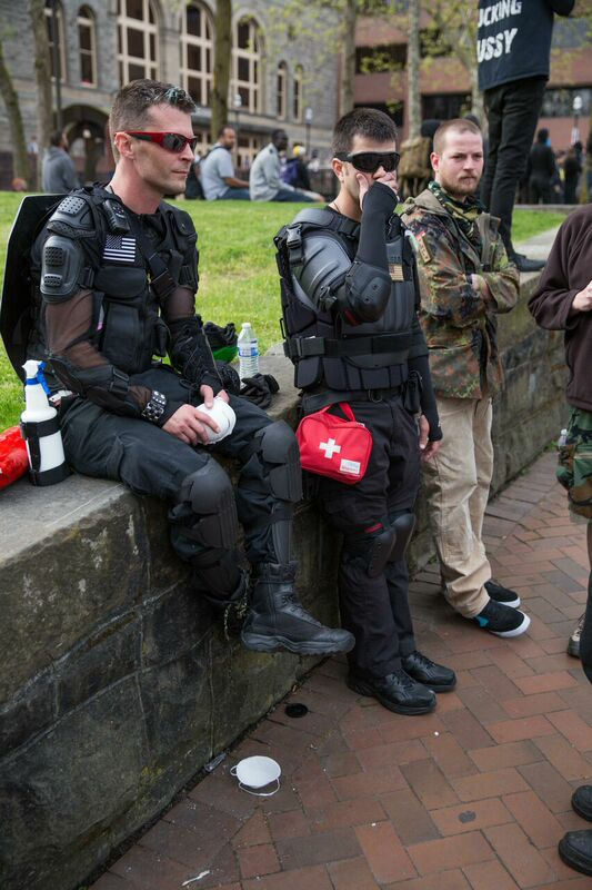 On the Seattle Central plaza with first aid kits.
