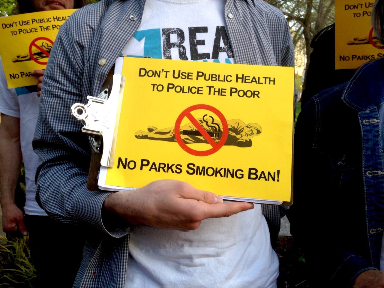 Homeless advocates are fighting a proposed ban on smoking in all city parks.