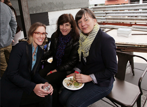 Dawn Cerny, 2015 nominee in art, talking with Victoria Haven, 2004 Genius Award winner, and Sarah Bergmann, 2012 Genius Award winner.