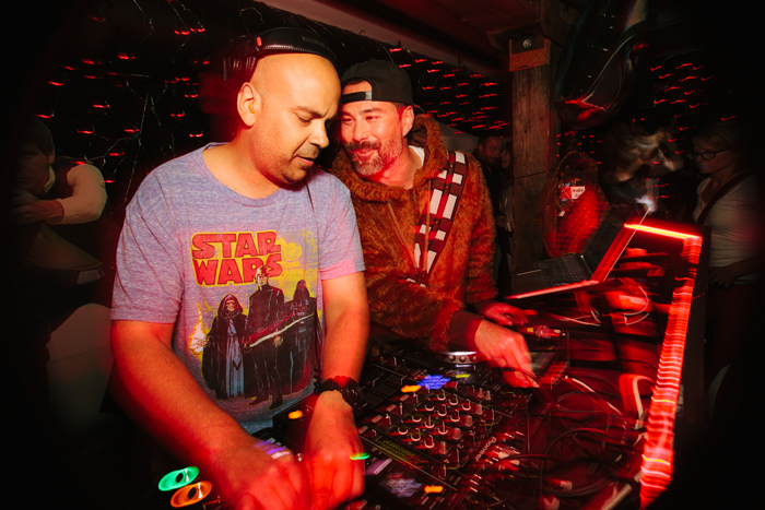 Gene Lee and Wesley Holmes, two of RDAs founding fathers, share the decks while the crowd loses their collective minds.