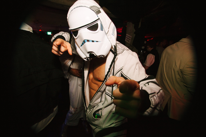 A Stormtrooper lets loose after a hard day of fighting for the Galactic Empire.