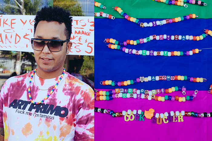 Michael Rhodes was offering colorful beaded jewelry emblazoned with a few choice words.