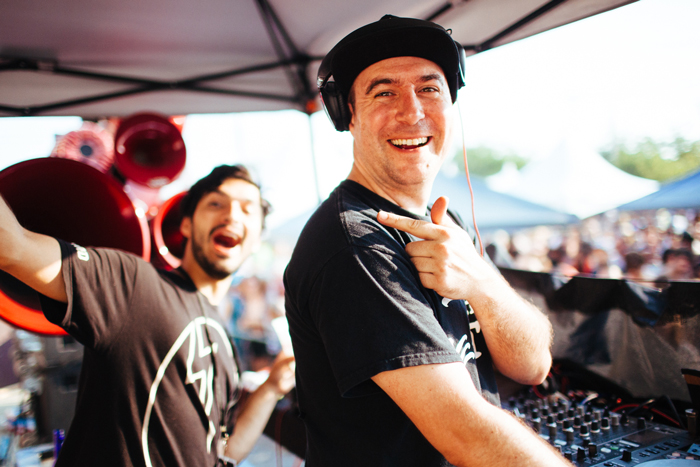 Justin Martin on the decks while Ardalan does his best to distract him.