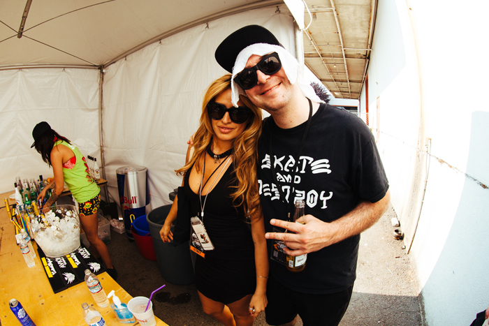 Justin Martin with his girlfriend back stage in VIP.