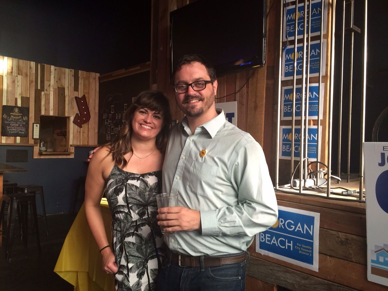 District 3 candidate Morgan Beach with citywide candidate Jon Grant.