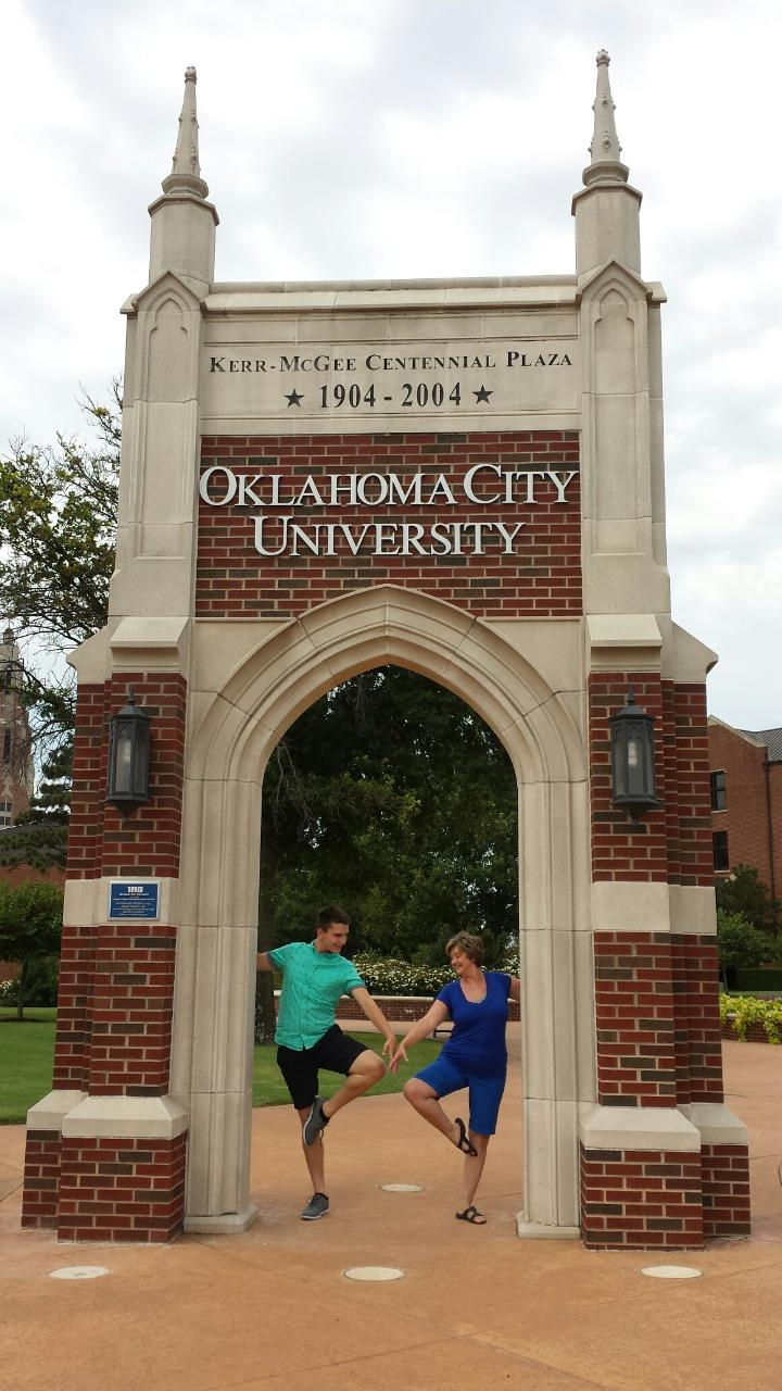 Joel and his dance teacher Kathy Miller on the day he arrived at OCU.
