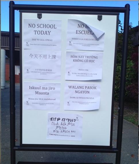 No School Today, translated into Spanish, Chinese, Vietnamese, Somali, Tagalog, and Tigrinya.