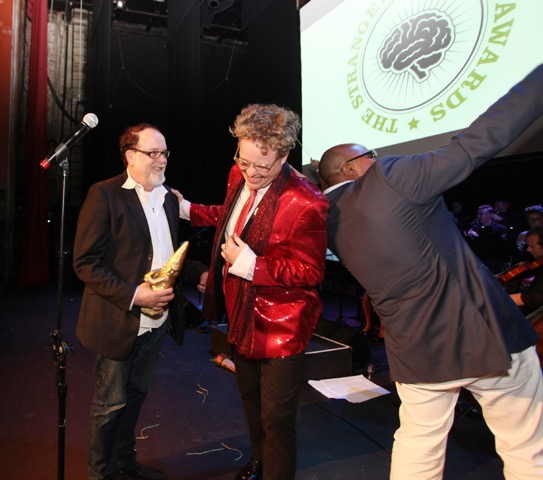 The 2015 Genius Award for Music went to audio engineer, producer, and musician, Steve Fisk. Here he is with Sean Nelsons jacket.