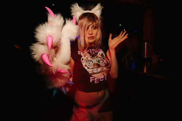 A very pretty kitty on the dance floor at Re-bar.
