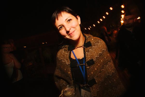 Annie Evasick of Shameless Productions at the Breakfast Club showcase at Monkey Loft on Sunday morning.