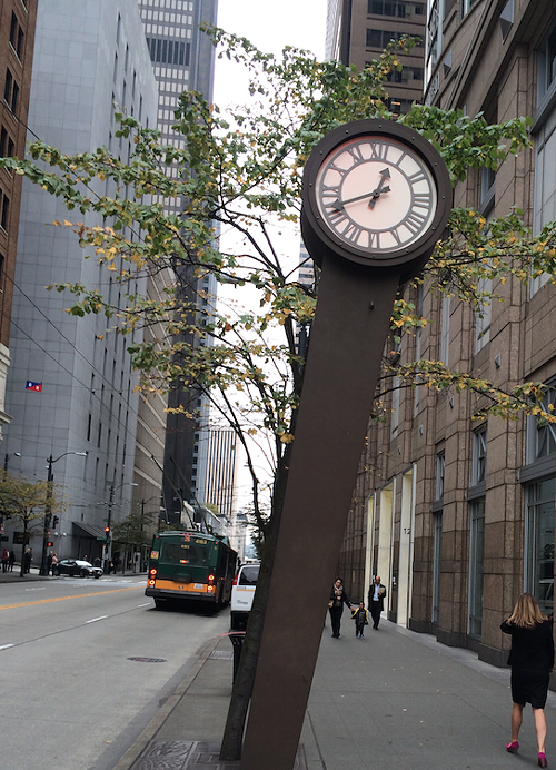 A clock on Third Ave whose time-telling abilities seemed like a life-or-death matter to my teenage self.