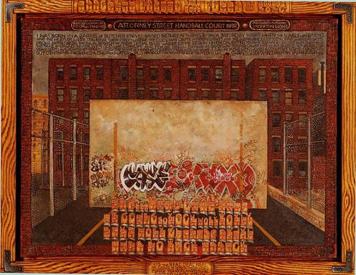 This is one of Martin Wongs remarkable sign-language paintings. Its called Attorney Street, Handball Court with Autobiographical Poem by Piñero, and he made it between 1982 and 1984. Miguel Piñero, the playwright and actor who was co-founder of the Nuyorican Poets Café, was also Wongs love and collaborator.