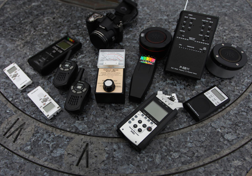 """Ghost hunting gear. """"If you've got a ghost, or a negative spirit,"""" Ken reminds us, """"Don't piss it off. One of our team members is also a Christian minister. Once a spirit we were investigating called her by name, then said, """"Fuck you, cunt."""""""