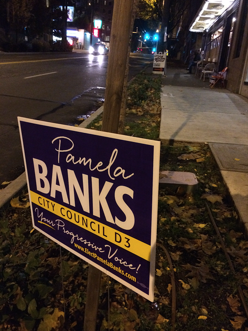 Just one of the many, many Pamela Banks signs near Little Uncle.