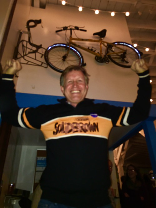 It looks like Mike OBrien is happy about the early results, and he is, but at the moment SECB took this photo, OBrien had just put on this sweater and he cheered Solid Brown! Bike gangs of Ballard, man.