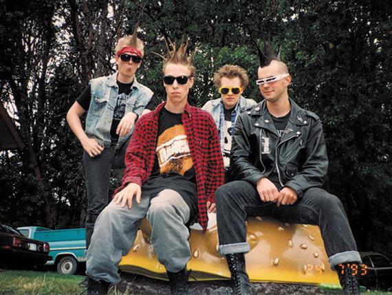 The Rickets circa 1993, sitting on a McDonald's hamburger in Larry's backyard on Bainbridge Island.