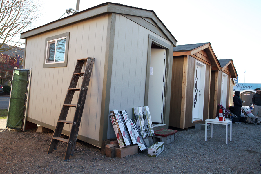 As of last Wednesday, there were four tiny houses on site.