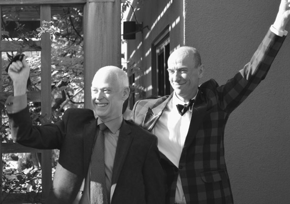 Meet Greg and Larry. Their wedding involved a live tour of erotic art, nearly the entire Seattle art scene, and a plaid wedding cake that matched Greg's outfit. They'd been together for 34 years before they could get married.
