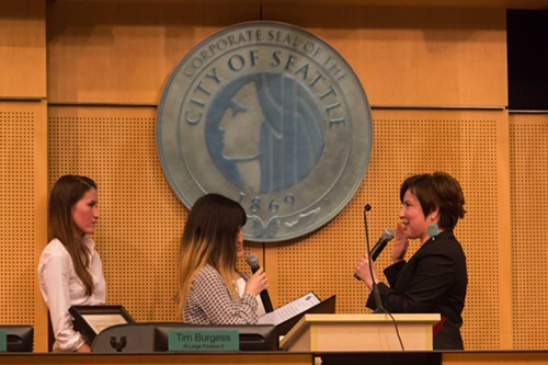 Among the new city council members sworn in today: Debora Juarez, the first enrolled member of a Native American tribe to ever serve on the Seattle City Council.
