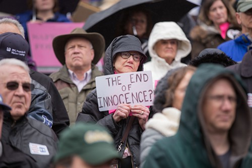 Anti-trans bathroom bill supporters rallied in Olympia on Monday.
