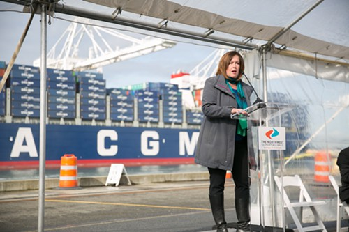 Stephanie Bowman, Port of Seattle Commissioner Postion 3, speaks on the importance of shipping for the future of Seattle