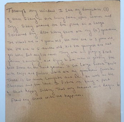 This is the same prisoners text about what is in the photo above. This letter is printed on postcards to take home from Prison Obscura along with postcards from several other prisoners about their wished-for window views.